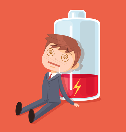 hard day at the office: Businessman character no energy. Vector flat cartoon illustration