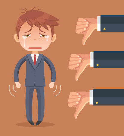 many hands: Sad businessman character and many hands with thumbs down. Vector flat cartoon illustration