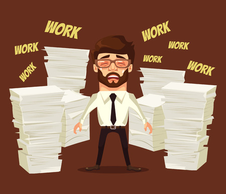 scream: Hard work. Busy man character cry and scream. Vector flat cartoon illustration