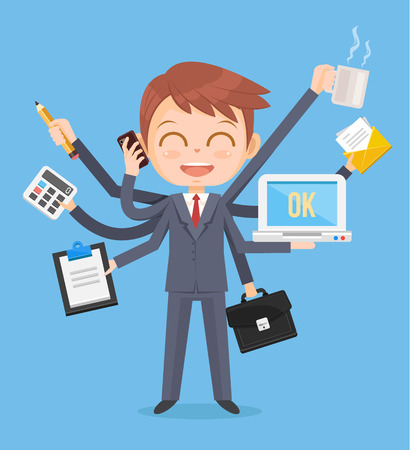 multitasking: Happy office man character. Multitasking hard work. Vector flat cartoon illustration