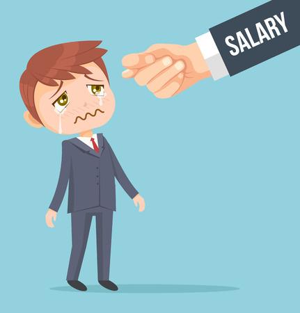 budget: Office worker man waiting for salary. Vector flat cartoon illustration Illustration