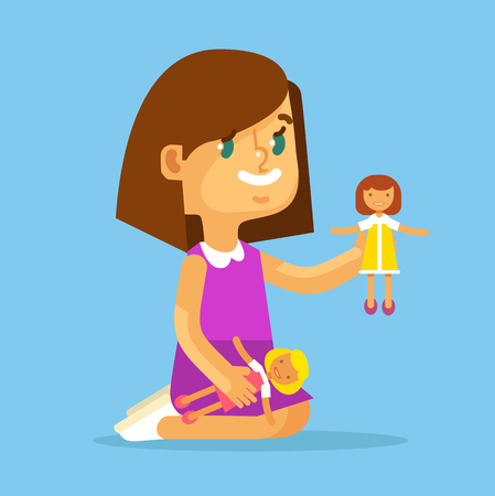 baby doll: Children girl play with dolls. Vector flat cartoon illustration