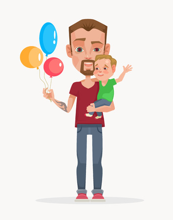 Good father character. Vector flat cartoon illustration