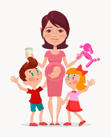 Good mother character. Vector flat cartoon illustration Illustration