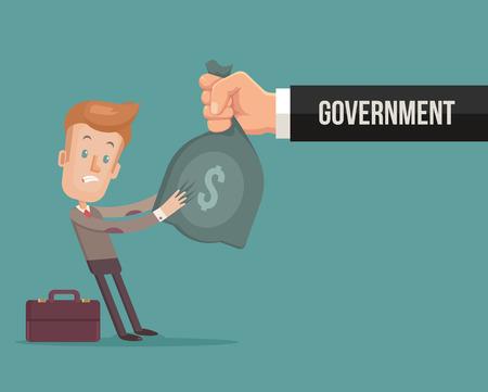 Bureau caractère travailleur donner gouvernement d'argent. Vector plate illustration de bande dessinée Vecteurs