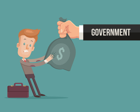 give money: Office worker character give money government. Vector flat cartoon illustration
