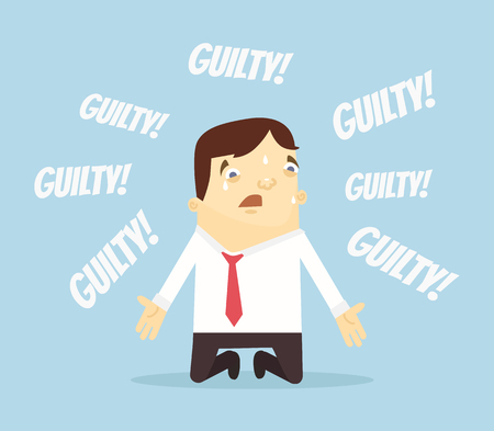 oppression: Guilty office worker man character. Vector flat cartoon illustration
