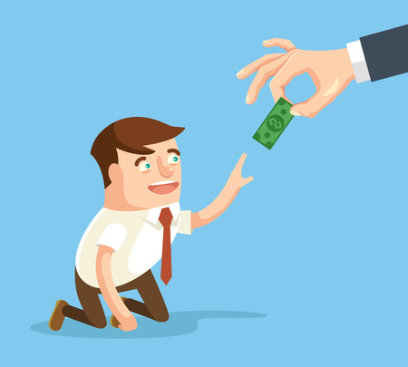 salary: Boss giving small salary to worker. Vector flat cartoon illustration