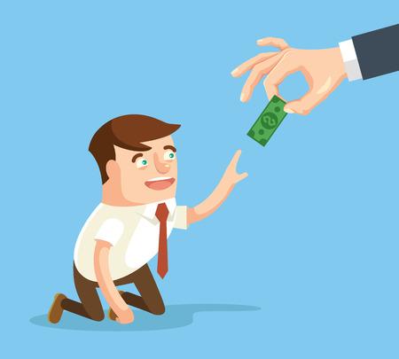 Boss giving small salary to worker. Vector flat cartoon illustration
