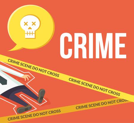 crime scene: Crime scene. Do not cross. Vector flat cartoon illustration Illustration