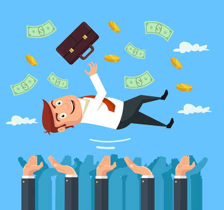 Throw happy businessman character in the air. Vector flat cartoon illustration Illustration
