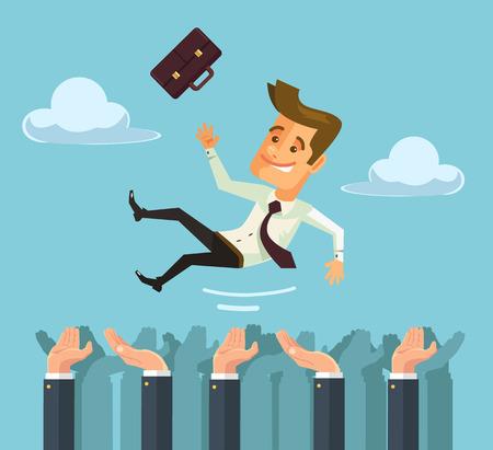 Gooi handen gelukkig zakenman karakter in de lucht. Vector flat cartoon illustratie