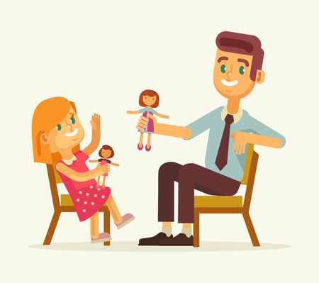 Father and daughter play dolls. Vector flat cartoon illustration