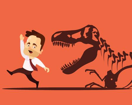 run away: Frightened man character. Vector flat cartoon illustration