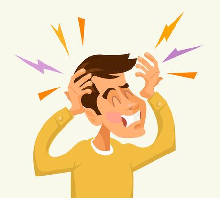 Headache man character. Vector flat cartoon illustration Illustration