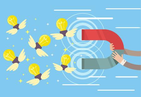 attracting: Magnet attracting idea. Vector flat cartoon illustration