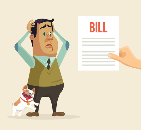 poverty: Shocked man character received bill. Vector flat cartoon illustration Illustration