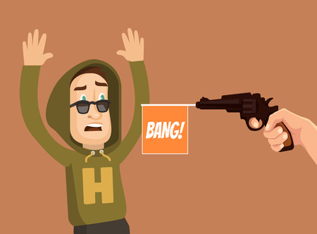 hostage: Offender and victim characters. Vector flat cartoon illustration