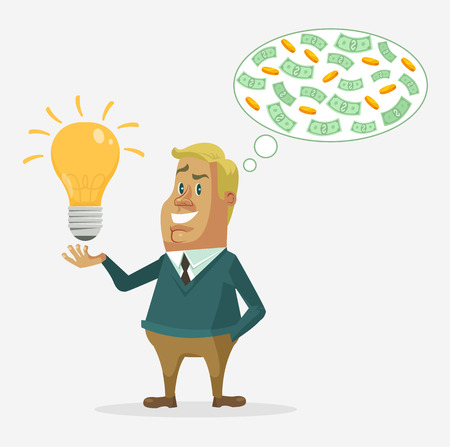 idea: Office worker character have good idea make money. Vector flat cartoon illustration