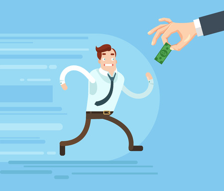 salaries: Businessman character runs trying catch salary. Vector flat cartoon illustration Illustration