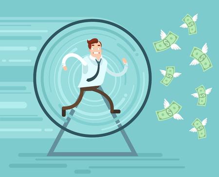 salarios: El carácter del hombre de negocios funciona intentando coger el dinero. Vector ilustración de dibujos animados plana