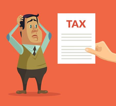bad news: Man character shocked with tax. Vector flat cartoon illustration