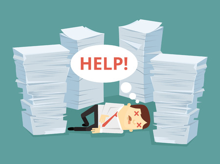 disheartened: Office worker character has lot of works laying on floor. Vector flat cartoon illustration