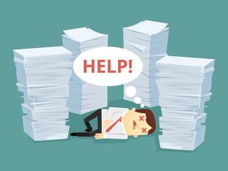 Oficina carácter trabajador tiene gran cantidad de trabajos que ponen en suelo. Vector ilustración de dibujos animados plana Foto de archivo - 63428296