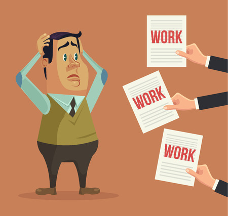 a lot: Hard work. Busy man character. Hands give many works. Vector flat cartoon illustration Illustration