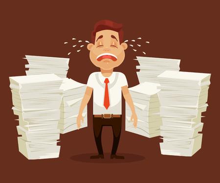 Busy man character cry tears and scream. Vector flat cartoon illustration