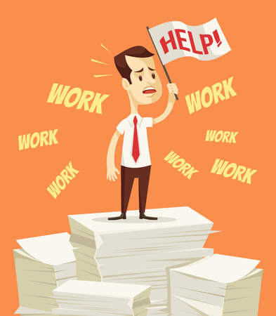 disheartened: Businessman need help with work. Office worker hold white flag help. Vector flat cartoon illustration Illustration