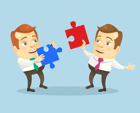 alfa: Teamwork. Office people with puzzle. Vector flat cartoon illustration