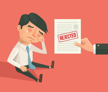 refusal: Office worker man character received refusal. Vector flat cartoon illustration
