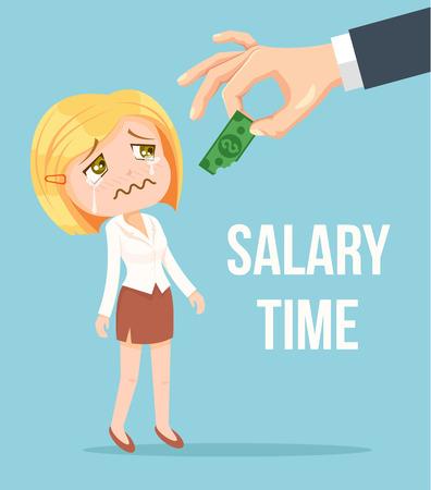 Boss geven van kleine salaris kantoor werknemer vrouw karakter. Vector flat cartoon illustratie