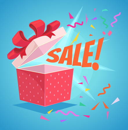 Open sale gift box with red bow and sale word. Discount banner. Vector flat cartoon illustration