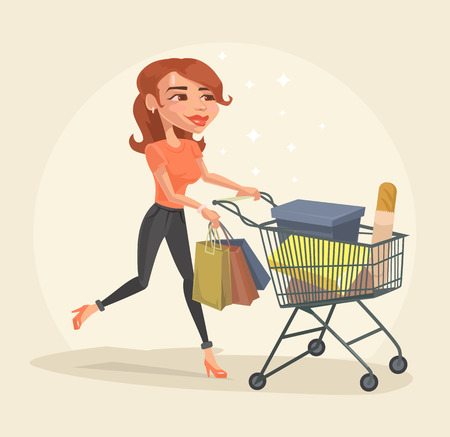 Happy girl character with purchases. Shopping discount sale banner. Vector flat cartoon illustration