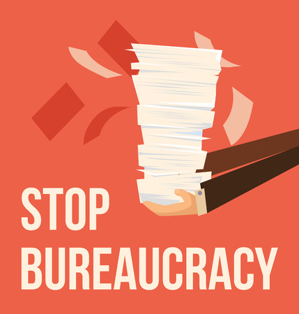 Stop bureaucracy. Vector flat cartoon illustration Illustration