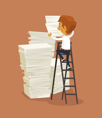 Businessman character and big stack of papers. Vector flat cartoon illustration