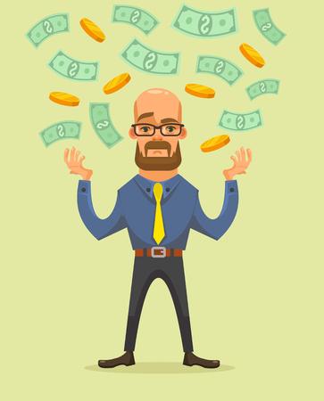 mucho dinero: Último hombre de negocios tiene una gran cantidad de dinero. Vector ilustración de dibujos animados plana Vectores