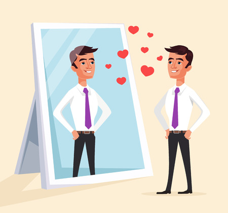 Narcissistic man character looks at mirror. Vector flat cartoon illustration