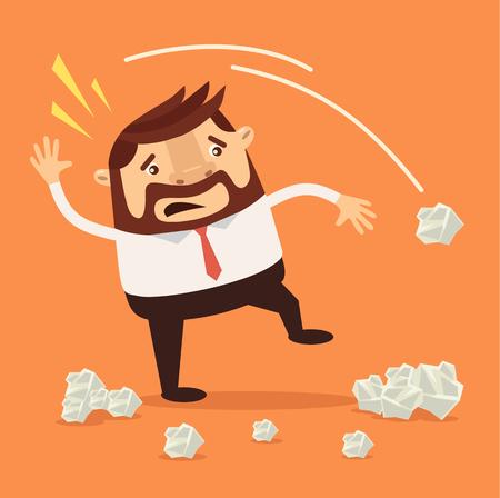 throwing paper: Businessman character have no idea. Vector flat cartoon illustration Illustration