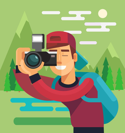 full length portrait: Photographer character take photo of nature. Vector flat cartoon illustration Illustration
