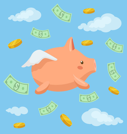 clouds cartoon: Piggy bank character fly in the sky. Vector flat cartoon illustration Illustration