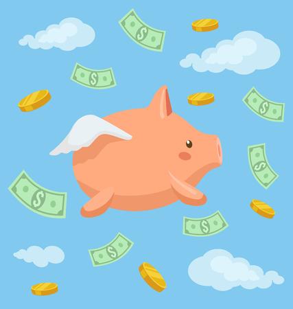 nubes caricatura: Piggy carácter banco volar en el cielo. Vector ilustración de dibujos animados plana Vectores
