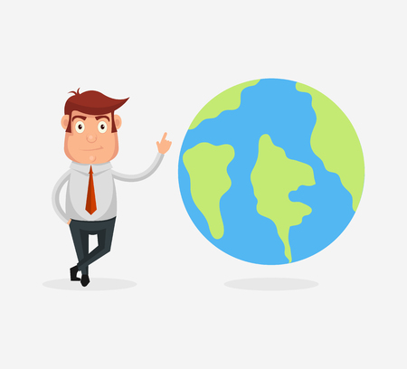earth planet: Man character with planet earth. Vector flat cartoon illustration Illustration