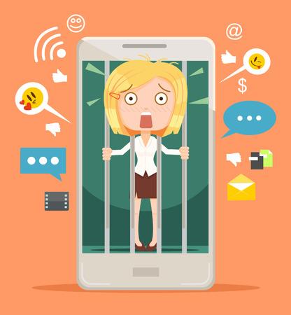 Büroangestellte Frau Charakter Geisel moderner Technologien. Vector flache Karikatur Illustration Standard-Bild - 64259800