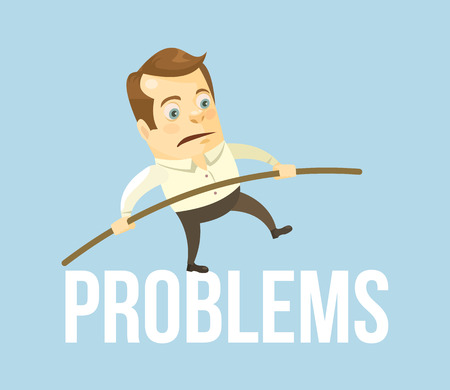business problems: Business man character balancing problems. Business crisis. Vector flat cartoon illustration