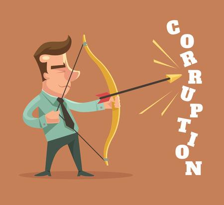 corruption: Stop corruption. Man broken corruption word. Vector flat cartoon illustration