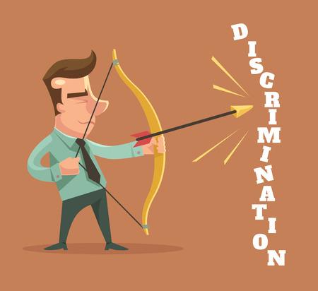 Stop discrimination. Man character broke discrimination word. Vector flat cartoon illustration Illustration