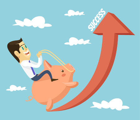 financial success: Businessman character riding piggy bank character. Financial success concept. Vector flat cartoon illustration